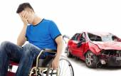 Stress and Disabled patient with car accident concept — Stock Photo