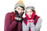 Happy young couple with winter wear — Stock Photo