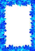 Frame blue maple leaves — Stock Vector