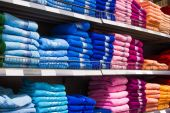 Multicolor towels in the shop — Stock Photo