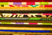 Colorful carpets in the store — Stock Photo