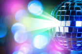 Blue shiny disco ball on Colorful bokeh background  — Stock Photo