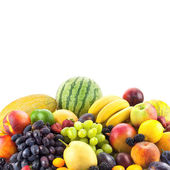 Border of mixed fruits isolated on white with copy space  — Stockfoto