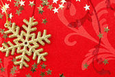 Golden Snowflake and Stars - Christmas decoration — Stock Photo