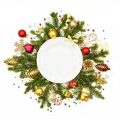 White Christmas plate with baubles, stars and fir -  isolated  — Stok fotoğraf