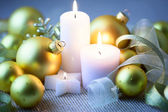 Night Christmas Decorations  with candles - horizontal — Stock Photo