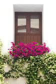 Typical Window decorated Pink and White Flowers, Cordoba, Spain — Foto Stock