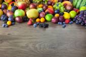 Big assortment of Fresh Organic Fruits, border composition — Stock Photo