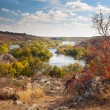 Colorful Trees and River - beautiful sunny autumn day, panoramic — Stock Photo #54390579