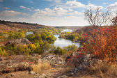 Colorful Trees and River - beautiful sunny autumn day, panoramic — Stock Photo