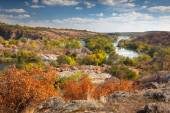 Beautiful Sunny Autumn Day  - Panoramic view on the river, color — Stock Photo