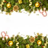 Christmas Decoration Border - background isolated on white - hor — Stock Photo