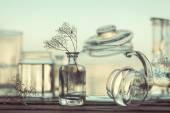 Still Life of Different Glassware - vintage style — Stock Photo