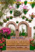 Old European Town - Flower decoration of Wall, Cordoba, Spain — Stock Photo