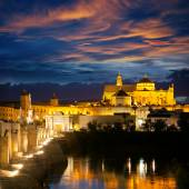 Famous Mosque (Mezquita) and  Roman Bridge at beautiful night,  — Stok fotoğraf