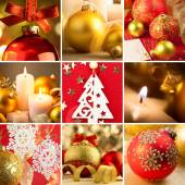 Set of Christmas Red and Golden  Backgrounds — Stock Photo