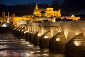 Mosque (Mezquita) and  Roman Bridge at beautiful night, Spain,  — Stock Photo