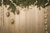 ChristmasVintage Background with fir tree, golden ribbon and dec — Stock Photo