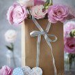 St. Valentines Day vertical background with flowers, paper heart — Stock Photo #60430925