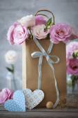 St. Valentines Day vertical background with flowers, paper heart — Stock Photo