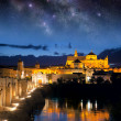 Roman Bridge and Mosque (Mezquita) at night, Spain, Europe — Stock Photo #60440829