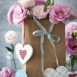 St. Valentines Day horizontal background with flowers, hearts an — Stockfoto #62085953