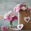 Wedding vintage background with pink flowers and hearts — Stock Photo #62085967