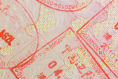 Different border stamps in a passport page - travel — Stock Photo