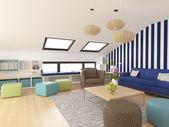 Modern colorful attic, 3d design — Stock Photo