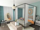 Modern morrocan bedroom interior — Stock Photo
