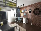 Contemporary industrial loft interior — Stock Photo