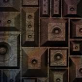Composição grunge velho alto-falante som sistema 3d — Fotografia Stock