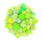 3d abstract green yellow shape on white — Stock Photo