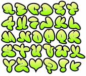 Graffiti bubble vector fonts with gloss and outline lemon variat — Διανυσματικό Αρχείο
