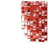 Red fragmented abstract pattern over white — Stock Photo