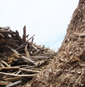 Large stack of wood mountain on a demolition site  — Stock Photo