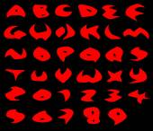 Creepy red alphabet sharp vector fonts over black — Stock Vector