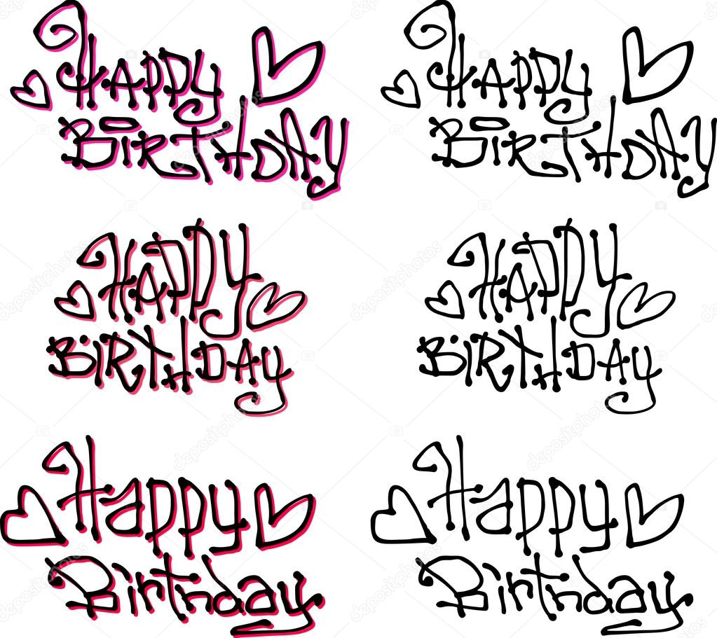 Happy Birthday Illustration Font ~ Happy birthday wish hand drawn liquid curly graffiti fonts stock vector � johnjohnson