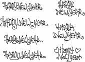 Happy new year wish hand drawn liquid curly graffiti fonts — Stock Vector