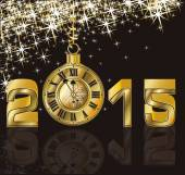 Happy New 2015 Year and golden clock, vector illustration — Stock Vector