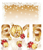 Happy new 2015 year card with xmas balls, vector illustration — Cтоковый вектор