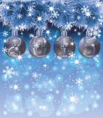 New Year 2015 card with xmas balls and snow, vector illustration — Stock Vector
