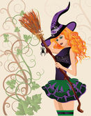 Beautiful witch and spider, halloween card. vector illustration — Vecteur