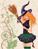 Beautiful witch and spider, halloween card. vector illustration — Vettoriale Stock