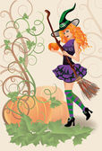 Beautiful witch and pumpkin, halloween card. vector illustration — Stock Vector