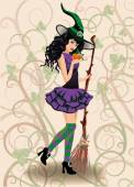 Cute witch and pumpkin, halloween card. vector illustration — Vector de stock
