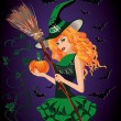 Sexy witch and pumpkin, halloween card. vector illustration — Stock Vector #53004565