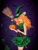 Sexy witch and pumpkin, halloween card. vector illustration — Stock Vector