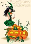 Happy Halloween card. Young witch and pumpkins, vector illustration — Vettoriale Stock