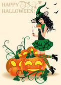 Happy Halloween card. Witch and pumpkins, vector illustration — Stock Vector